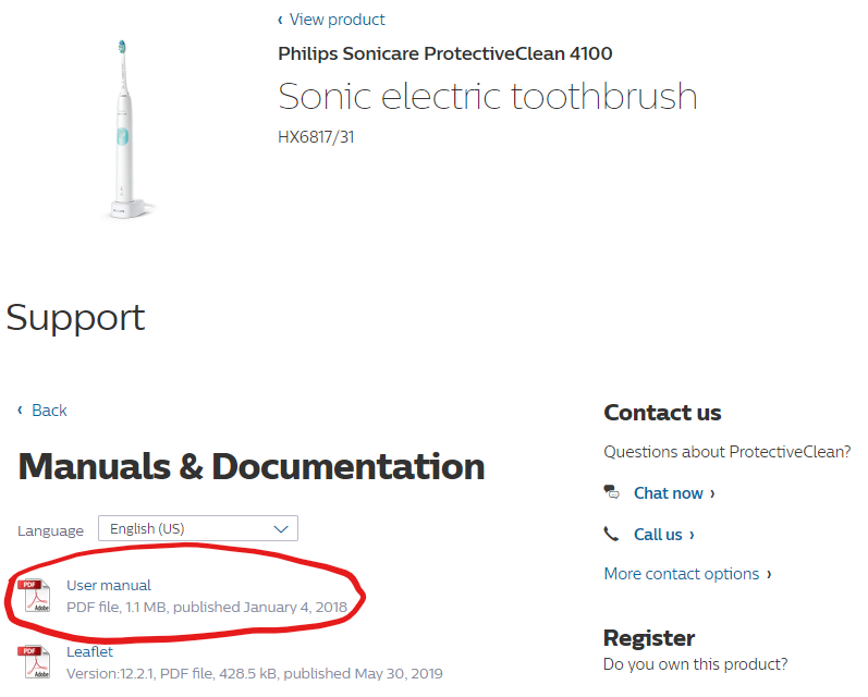 Philips Sonicare ProtectiveClean 4100 electric toothbrush website manuals and documentation